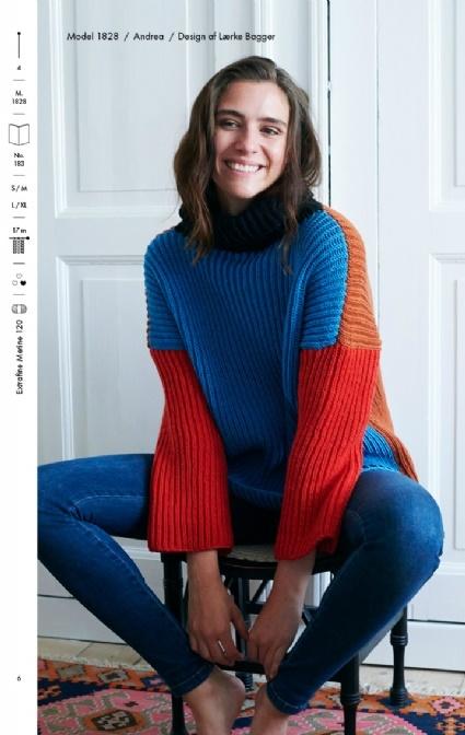 5fed012d strikkeopskrift på sweater i halvpatent model 1828
