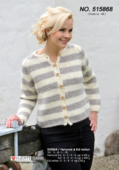 Stribet cardigan med mohairgarn 515868/folder 158